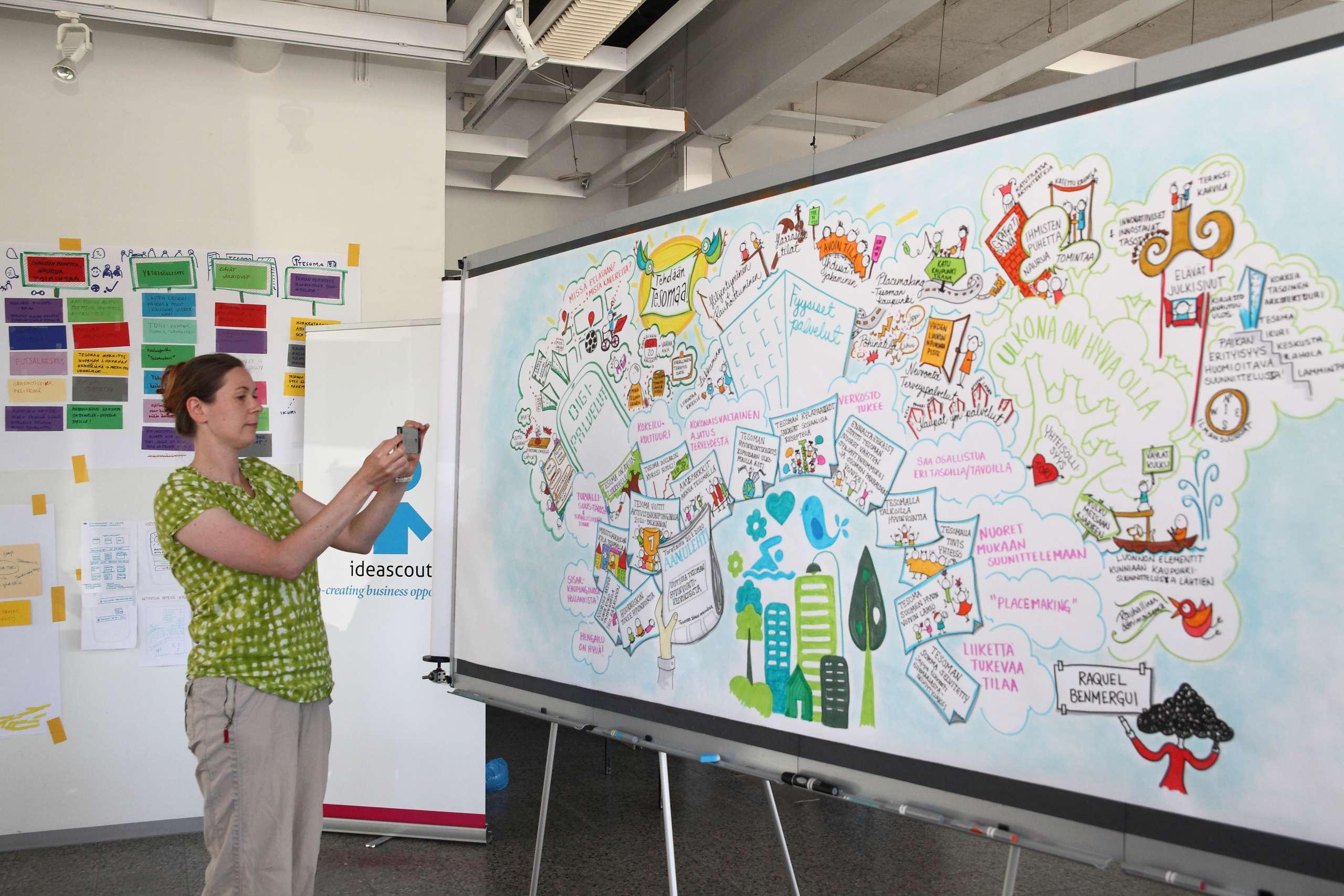 Nainen seisoo kuvaamassa suuren taulun vierellä, taulu on täynnä tekstiä ja piirroksia.