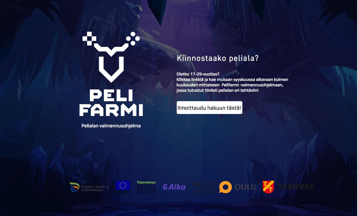 Nuorten Pelifarmi-valmennuksen haku auki Tampereella ja Oulussa