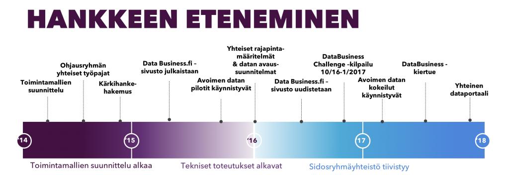 Avoin data ja rajapinnat -kärkihankkeen eteneminen aikajanalla. Vuonna 2014 alkoi toimintamallien suunnittelu, järjestettiin ohjausryhmän yhteiset työpajat ja jätettiin kärkihankehakemus. Vuonna 2015 julkaistiin databusiness.fi -sivusto ja avoimen datan pilotit käynnistyivät. Vuonna 2016 laadittiin yhteiset rajapintamääritelmät ja datan avaus-suunnitelmat. Lisäksi uudistettiin databusiness.fi -sivusto ja järjestettiin DataBusiness Challenge -kilpailu. Vuonna 2017 sidosryhmäyhteistyö tiivistyi, avoimen datan kokeilut käynnistyivät, järjestettiin databusiness-kiertue ja luotiin yhteinen dataportaali.