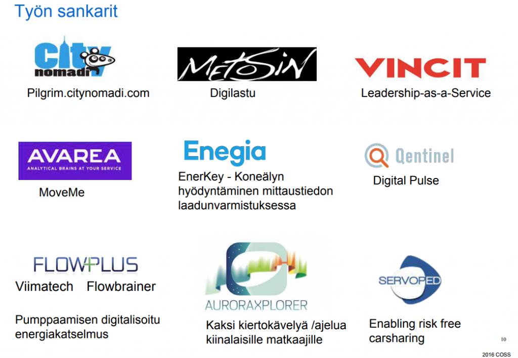Työn sankarit, hankkeessa kehitettyjä palveluja. Pilgrim.citynomadi.com. Digilastu (Metosin). Vincit leadership-as-a-Service. MoveMe (Avarea). ErenKey - koneälyn hyöyntäminen mittaustiedon laadunvarmistuksessa. Digital Pulse (Qentinel). Pumppaamisen digitalisoitu energiakatselmus (Flowplus Viimatech Flowbrainer). Kaksi kiertokävelyä / ajelua kiinalaisille matkaajille (AuroraXplorer). Enabling risk free carsharing (Servoped).