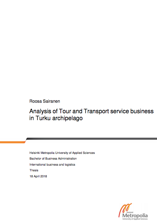Cover for article 'Analysis of Tour and Transport Service Business in Turku Archipelago'