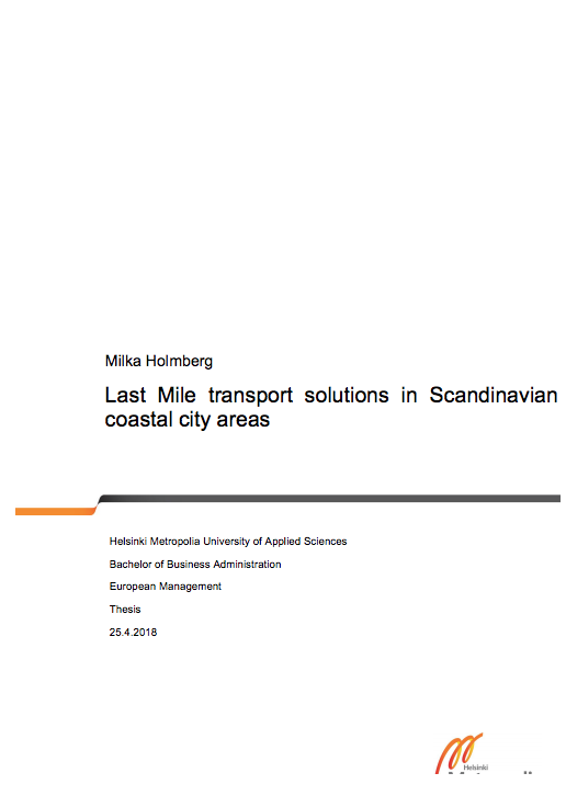 Cover for article 'Last Mile Transport Solutions in Scandinavian Costal City Areas'