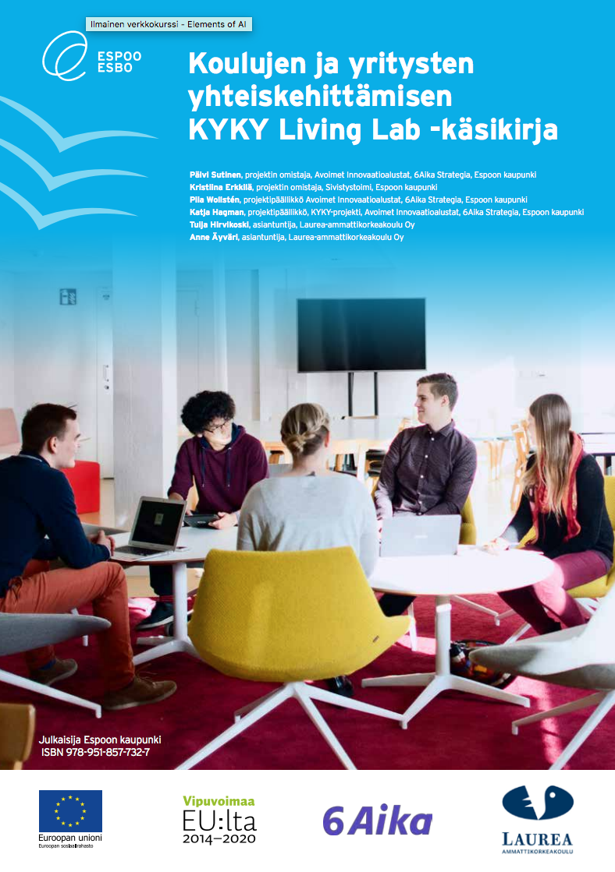 Cover for article 'Koulujen ja yritysten yhteiskehittämisen KYKY Living Lab -käsikirja'
