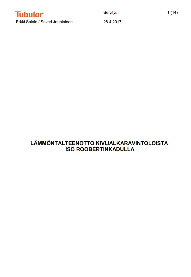 Cover for article 'Lämmöntalteenotto kivijalkaravintoloista Iso Roobertinkadulla'