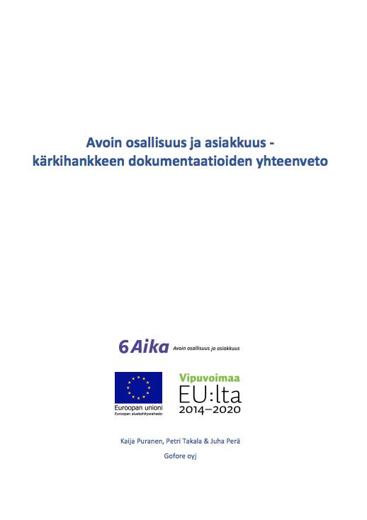 Cover for article 'Avoin osallisuus ja asiakkuus -kärkihankkeen yhteenvetoraportti'
