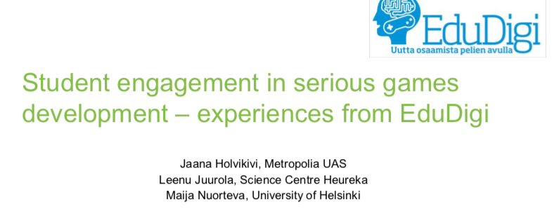 Cover for article 'Student engagement in serious games development – experiences from EduDigi'