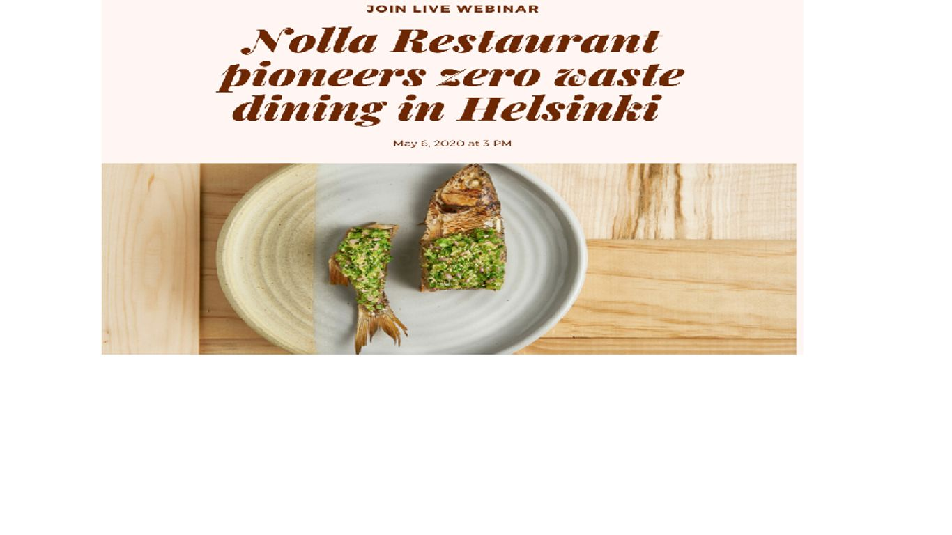 Cover for article 'Kasvun ekosysteemit -Restaurant Nolla presents their Zero Waste concept webinar'
