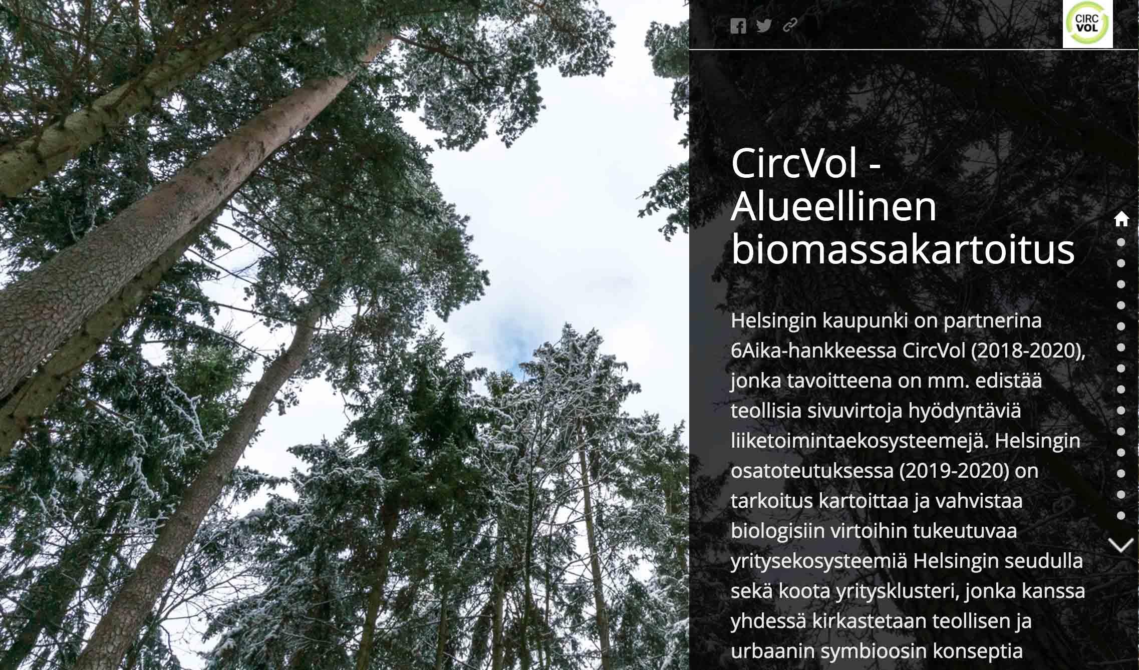 Cover for article 'CircVol Biomassakartoitus Helsingin seudulta'