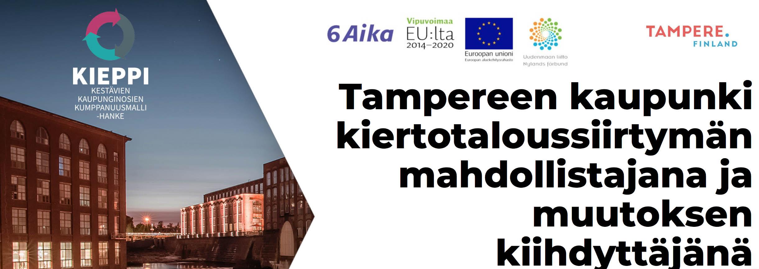Cover for article 'Tampereen kaupunki kiertotaloussiirtymän mahdollistajana ja muutoksen kiihdyttäjänä'