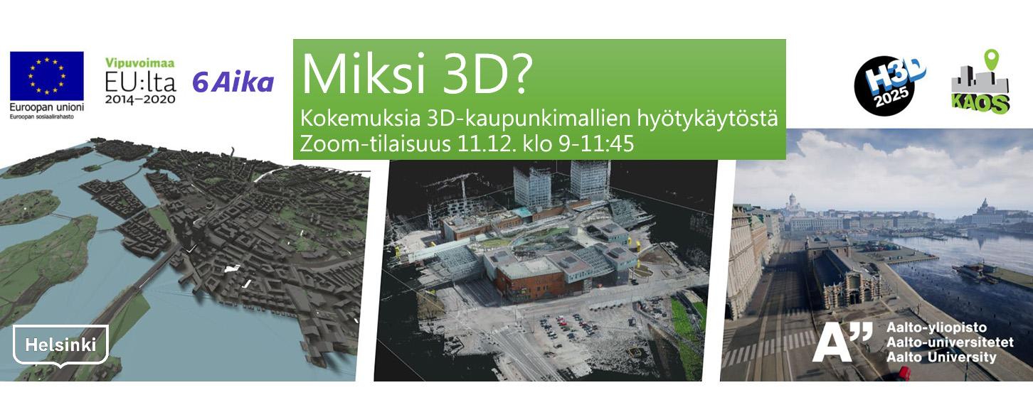 Cover for article 'KAOS – Kokemuksia 3D-kaupunkimallien hyötykäytöstä'