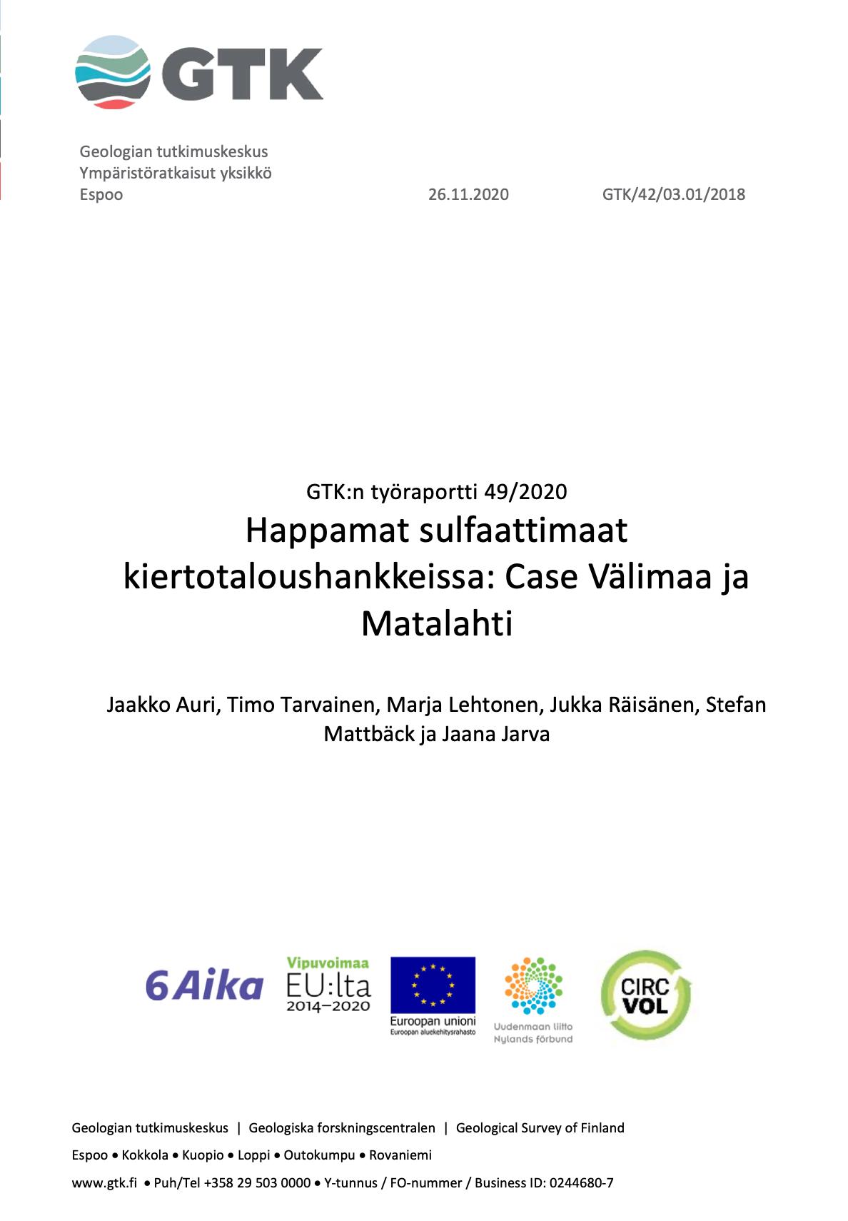 Cover for article 'Happamat sulfaattimaat kiertotaloushankkeissa: Case Välimaa ja Matalahti'