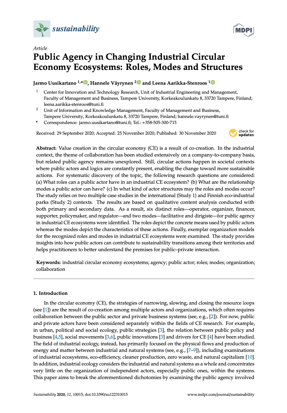 Cover for article 'Public Agency in Changing Industrial Circular Economy Ecosystems: Roles, Modes and Structures'