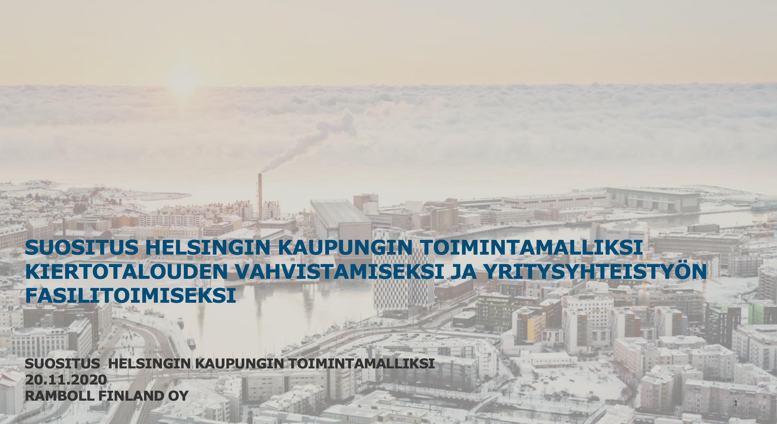 Cover for article 'Toimintamalli kiertotalouden symbioosien vahvistamiseksi Helsingissä'