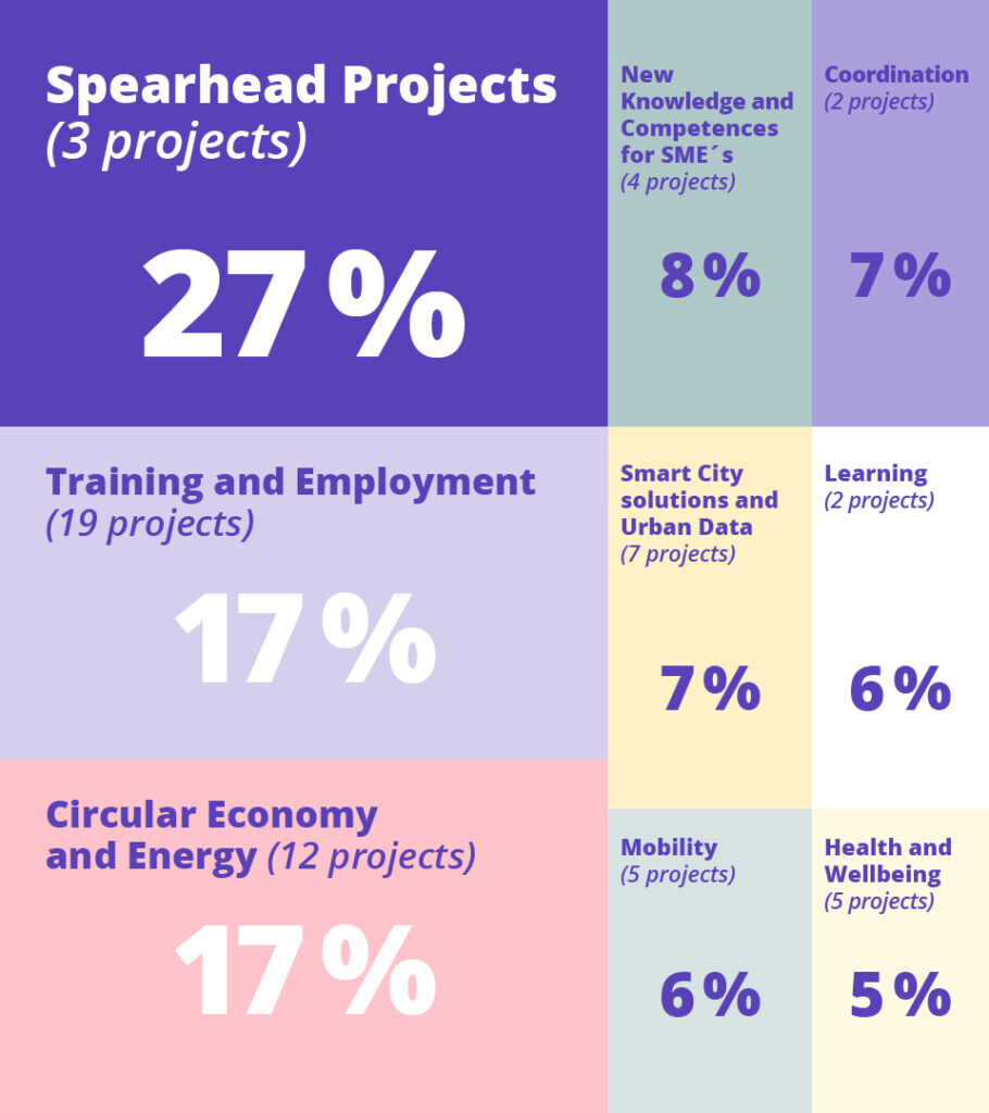 Spearhead projects (3 projects) 27 %. Training and employment (19 projects) 17 %. Circular economy and energy (12 projects) 17 %. New knowledge and competences for SME's (4 projects) 8 %. Smart City solutions and urban data (7 projects) 7 %. Mobility (5 projects) 6 %. Coordination (2 projects) 7 %. Learning (2 projects) 6 %. Health and Wellbeing (5 projects) 5 %.