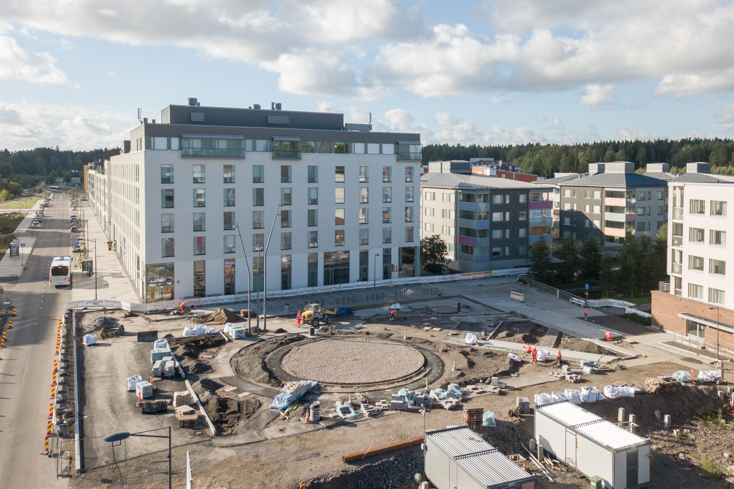 Ilmakuva Espoon Lukutorin rakennustyömaasta