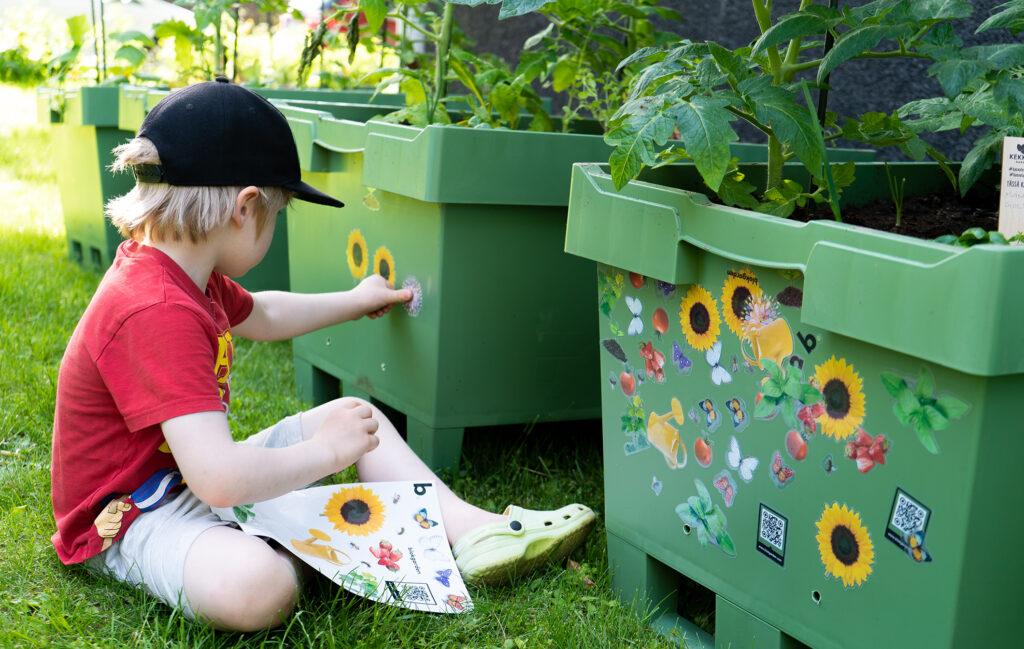 Kuvassa lapsi koristelee Blokgarden Oy:n yhteisöviljelmälaatikkoa lauttasaarelaisen taloyhtiön pihassa. Kuvaaja Markku Laine.