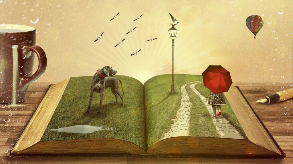 Taiteellinen kuva, jossa koira kirjan päällä.
