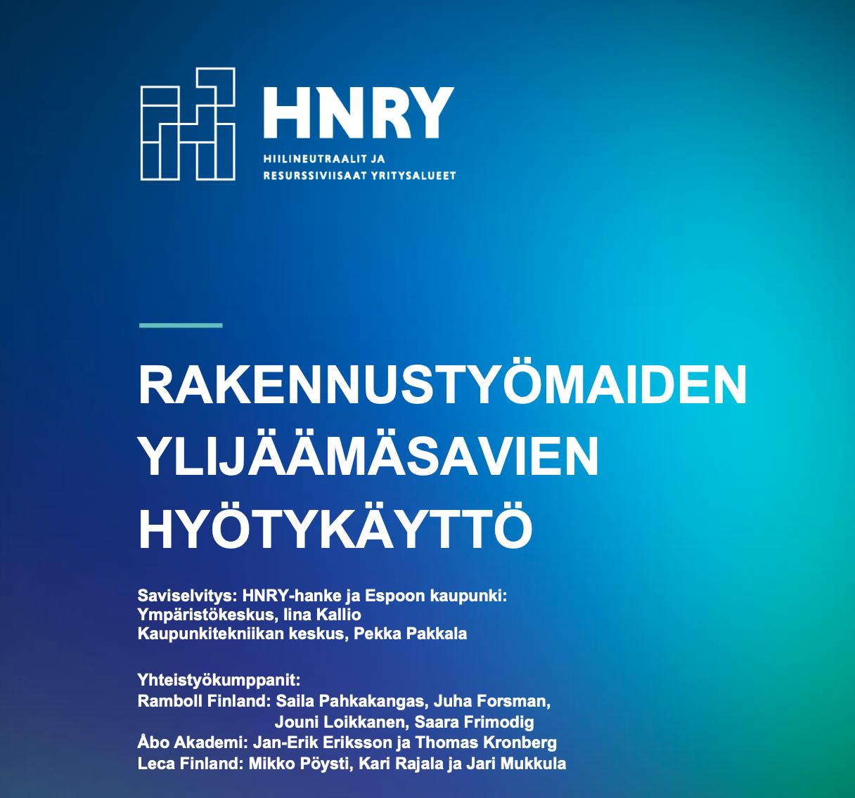 Cover for article 'Rakennustyömaiden ylijäämäsavien hyötykäyttö'